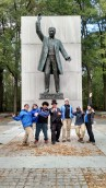 Teddy Roosevelt hanging out with SCA interns on his birthday volunteer event