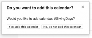 "Screenshot of box ""Do you want to add this calendar?"""