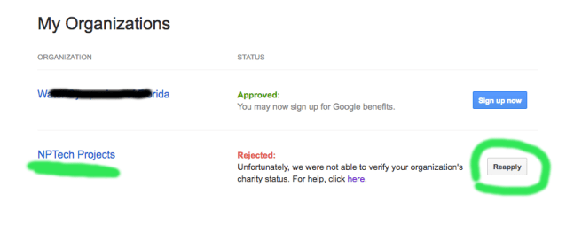 Google For Nonprofits My Organizations Screen