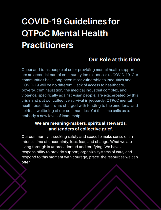 COVID-19 Guidelines for QTPoC Mental Health Practitioners