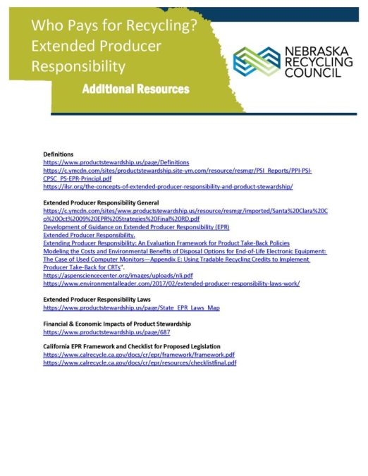 WHO PAYS FOR RECYCLING? EXTENDED PRODUCER RESPONSIBILITY: Additional Resources