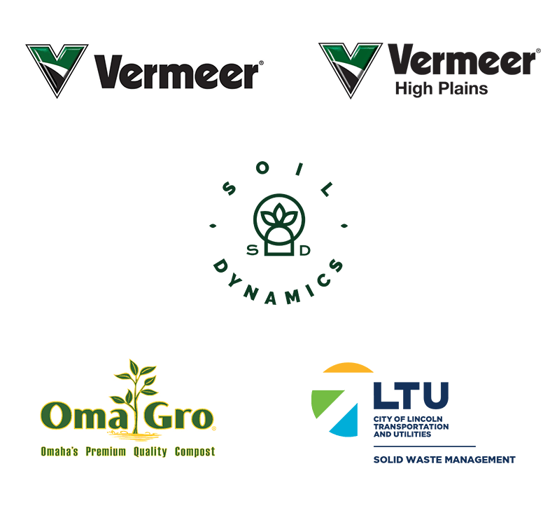 Logos for Vermeer, Vermeer High Plains, Soil Dynamics, OmaGro, and City of Lincoln Transportation and Utilities Solid Waste Management