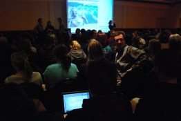 Packed crowds waiting to hear Dr. Dan Simberloff's keynote address.