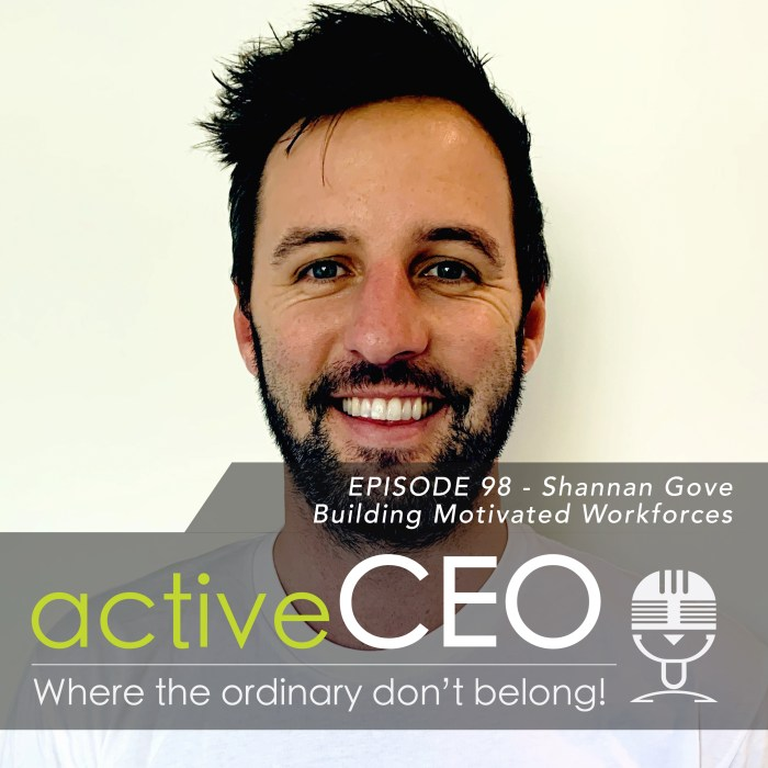 active CEO Podcast #98 Shannan Gove Building Motivated Workforces Rosterfy Craig Johns High Performance Leadership Expert NRG2Perform Coach Consultant