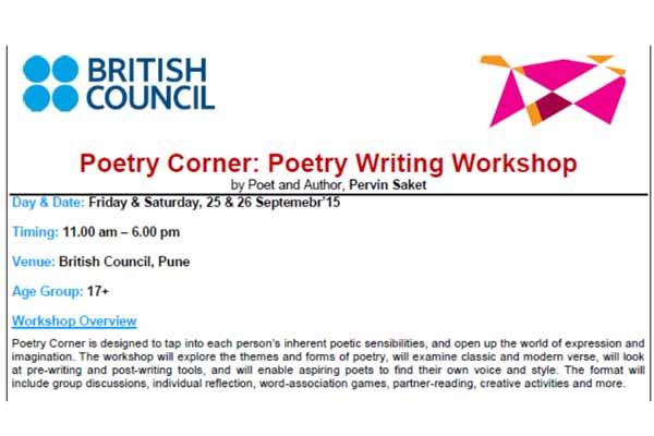 British Council, Pune: Poetry Writing Workshop on 25 & 26 September 2015