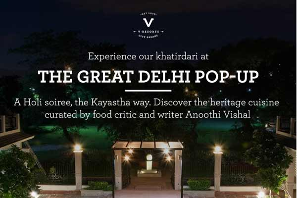 V Resorts is celebrating Holi by showcasing the Heritage Kayastha cuisine curated by food writer Anoothi Vishal