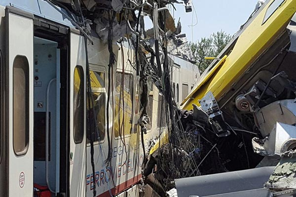 Two passenger trains collide in southern Italy, four dead