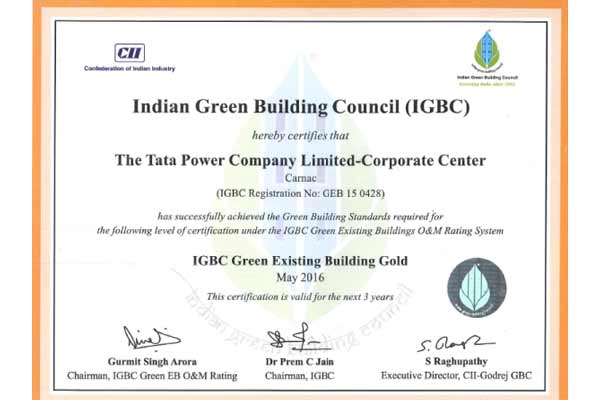 "Tata Power's Corporate Centre, Carnac building awarded ""IGBC GOLD"" rating, under ""IGBC's Green Existing Buildings"" category"