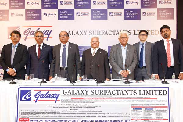 Galaxy Surfactants Limited: Initial Public Offer opens on Monday, January 29, 2018, Price Band: ₹ 1,470 to ₹ 1,480 per Equity Share