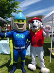 Mascots unite: Max Man, from Rhode Island Resource Recovery hangs out with Marshal from Paw Patrol