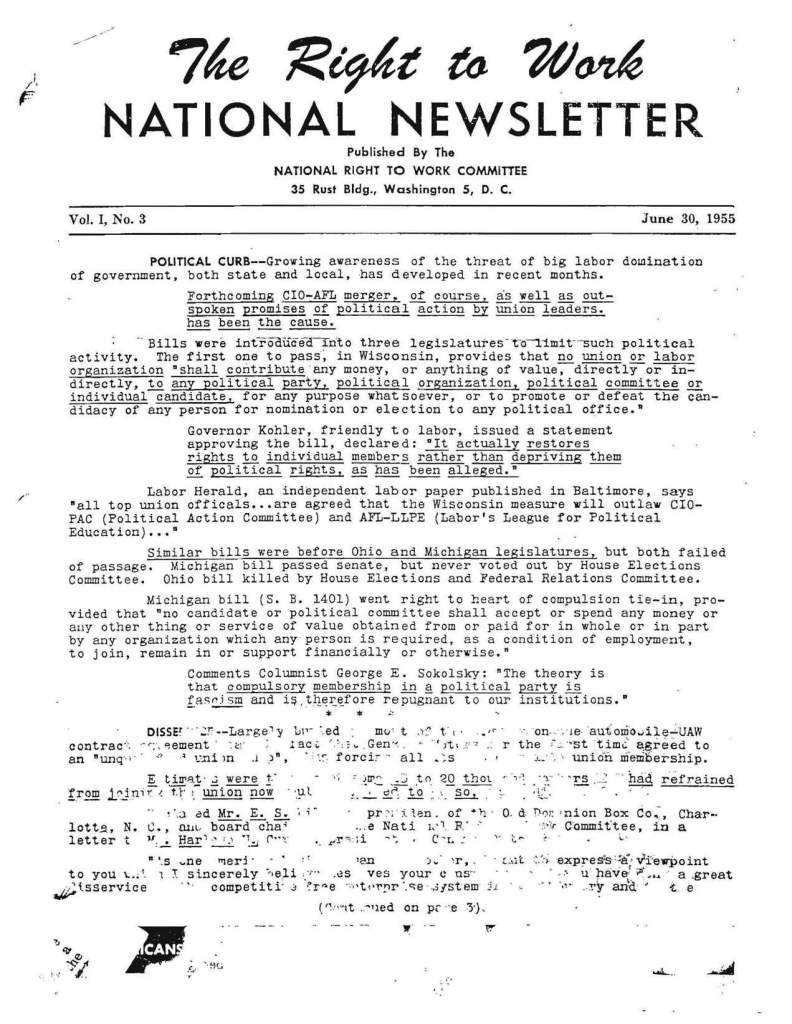 June 1955 National Right to Work Newsletter.