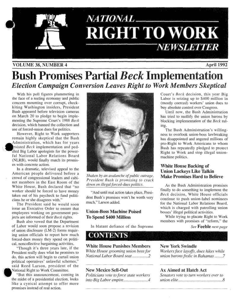April 1992 National Right to Work Newsletter