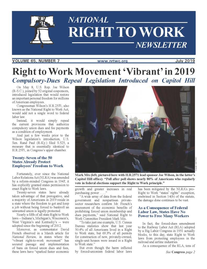July 2019 National Right to Work Newsletter