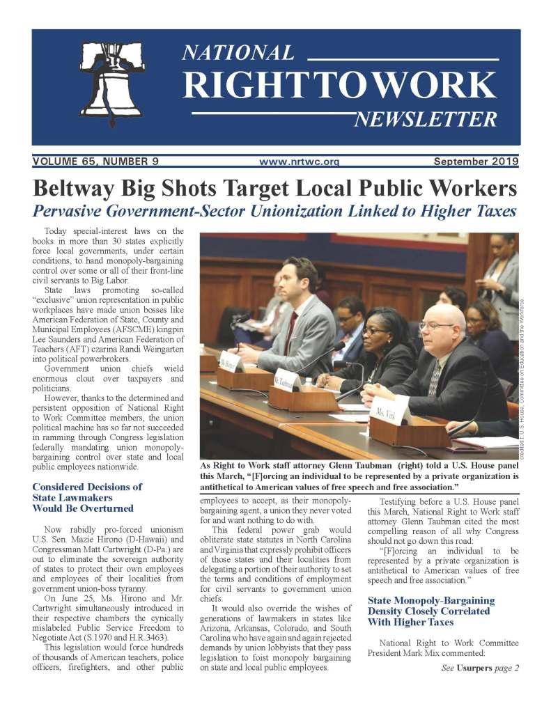 September 2019 National Right to Work Newsletter