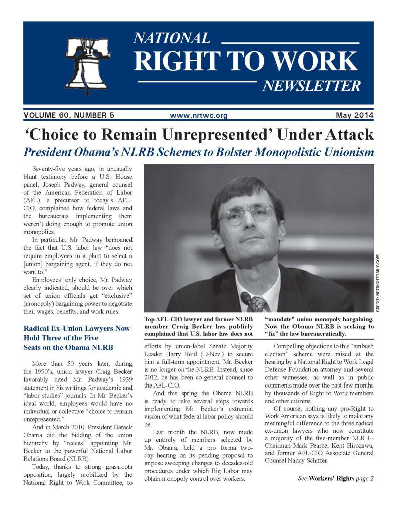 May 2014 National Right to Work Newsletter