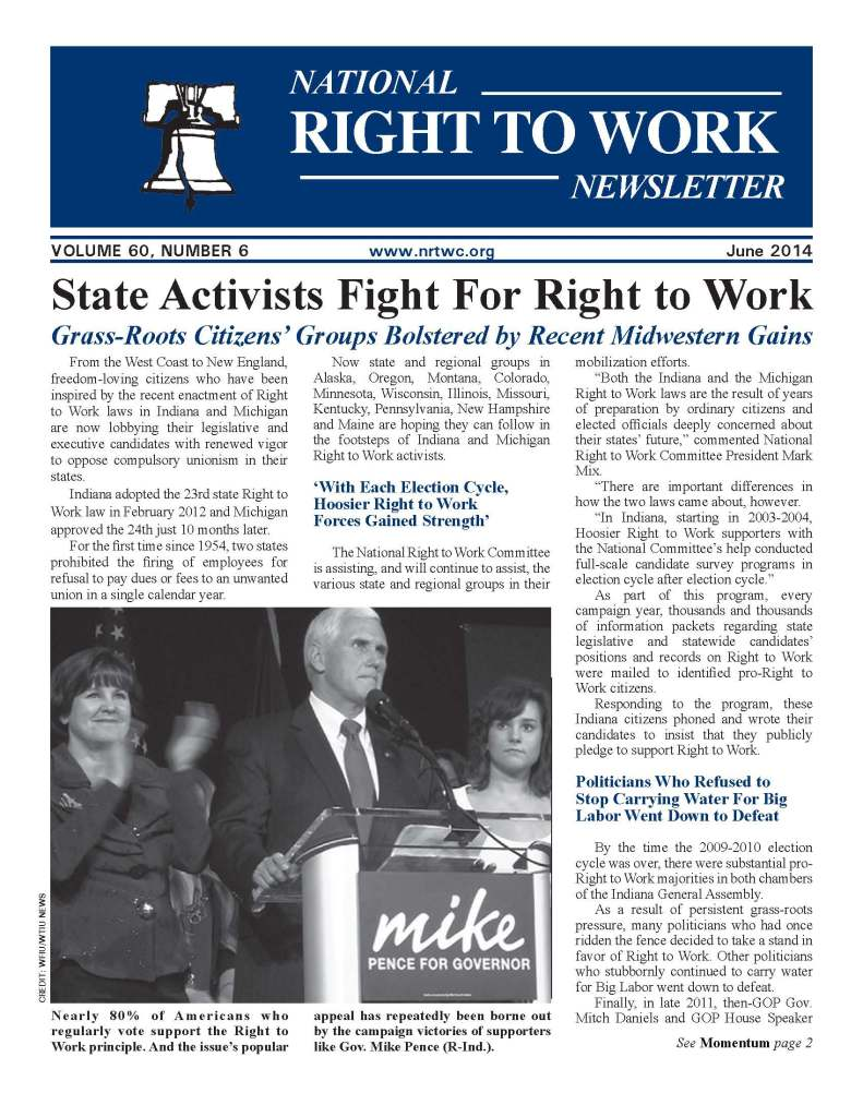 June 2014 National Right to Work Newsletter