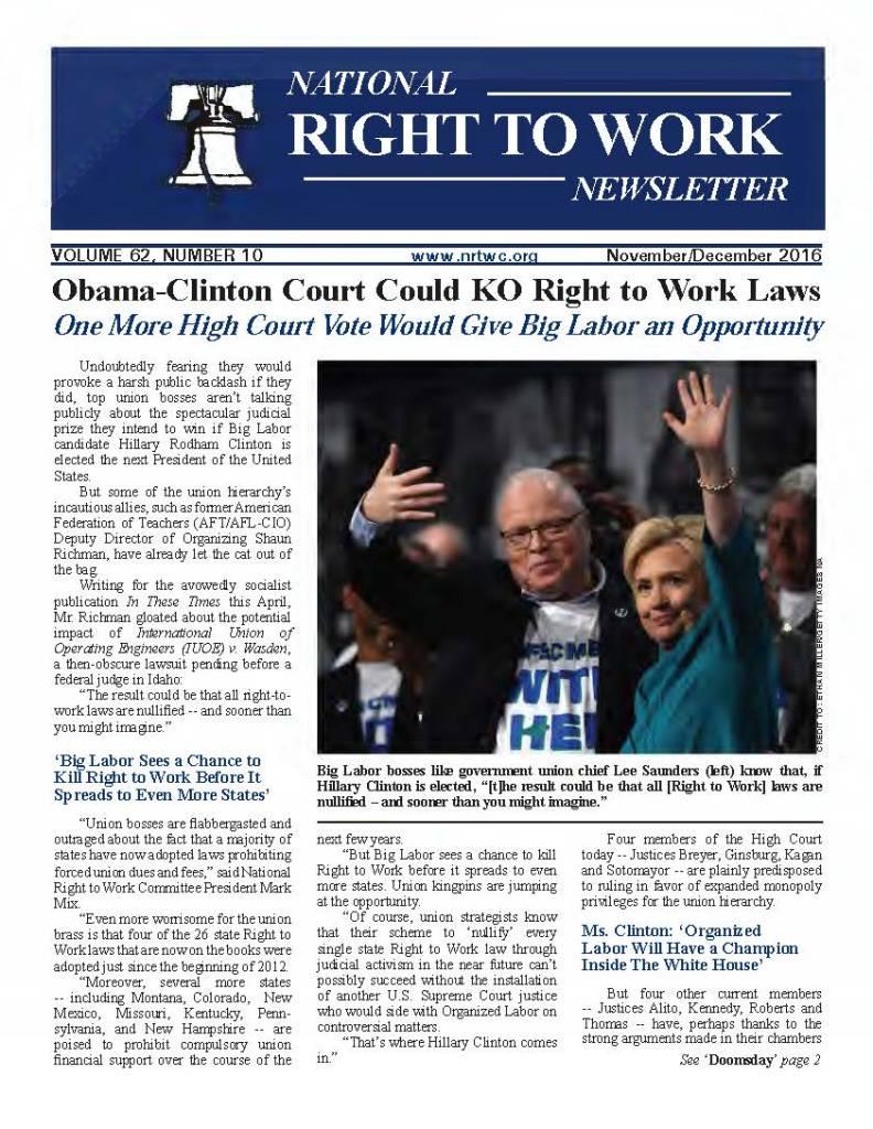 November/December 2016 National Right to Work Newsletter