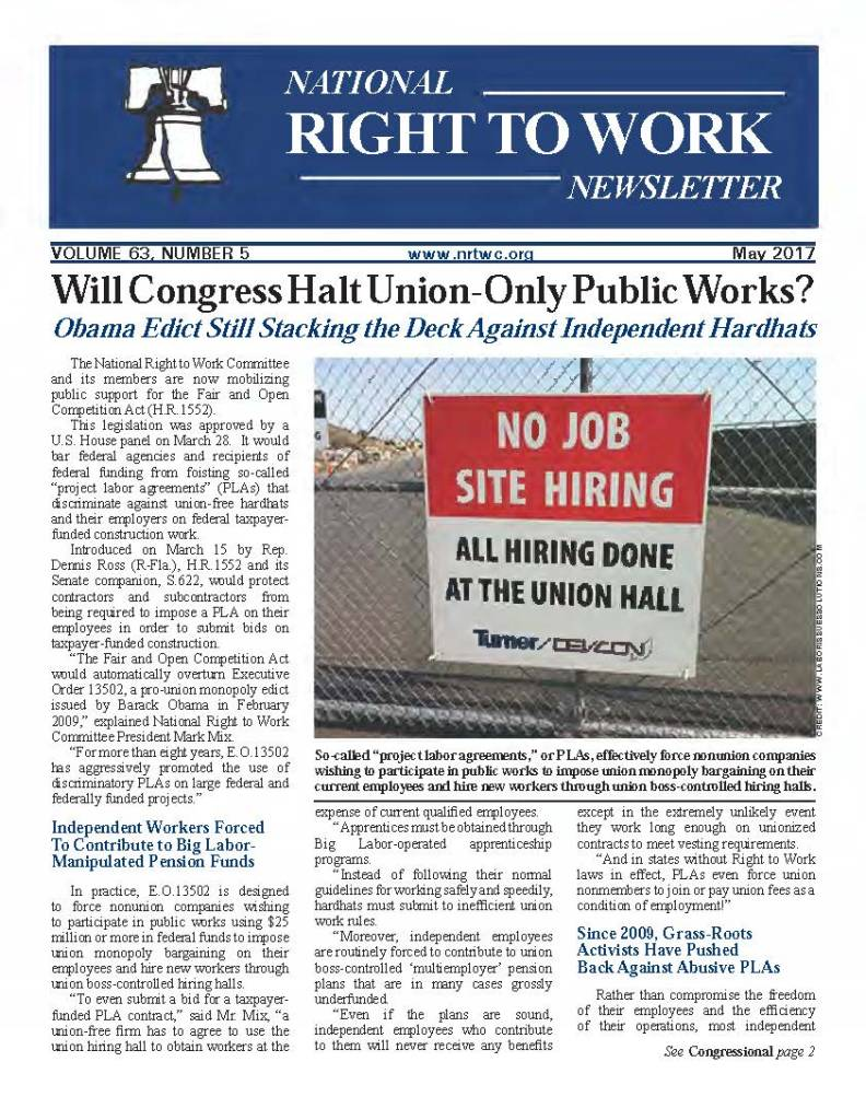 May 2017 National Right to Work Newsletter