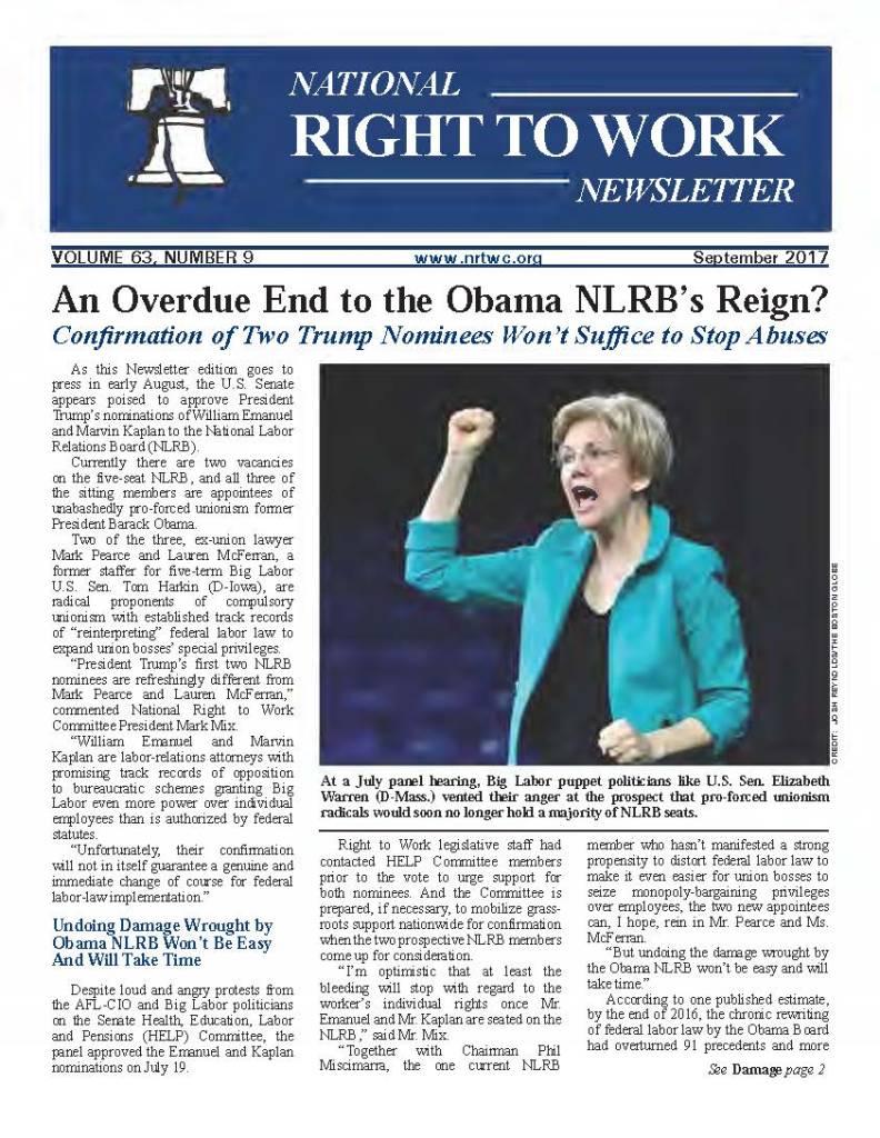 September 2017 National Right to Work Newsletter