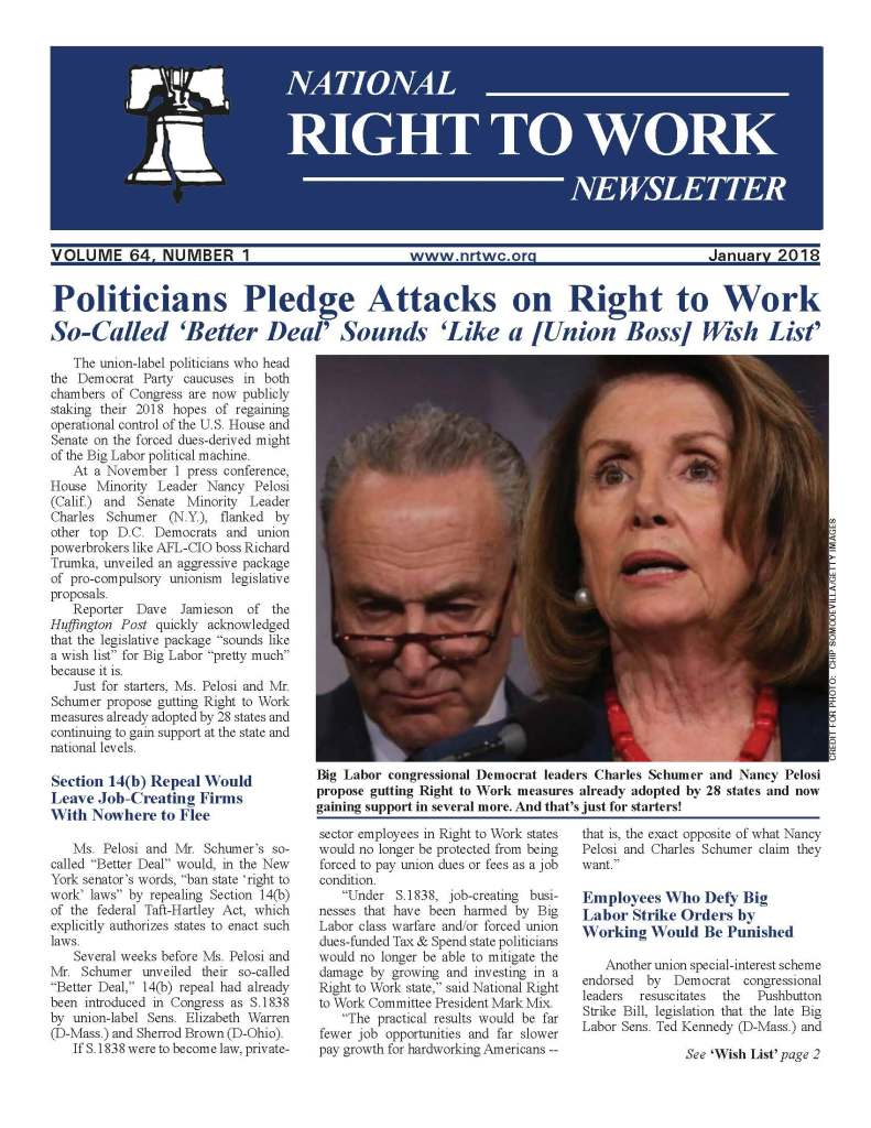 January 2018 National Right to Work Newsletter