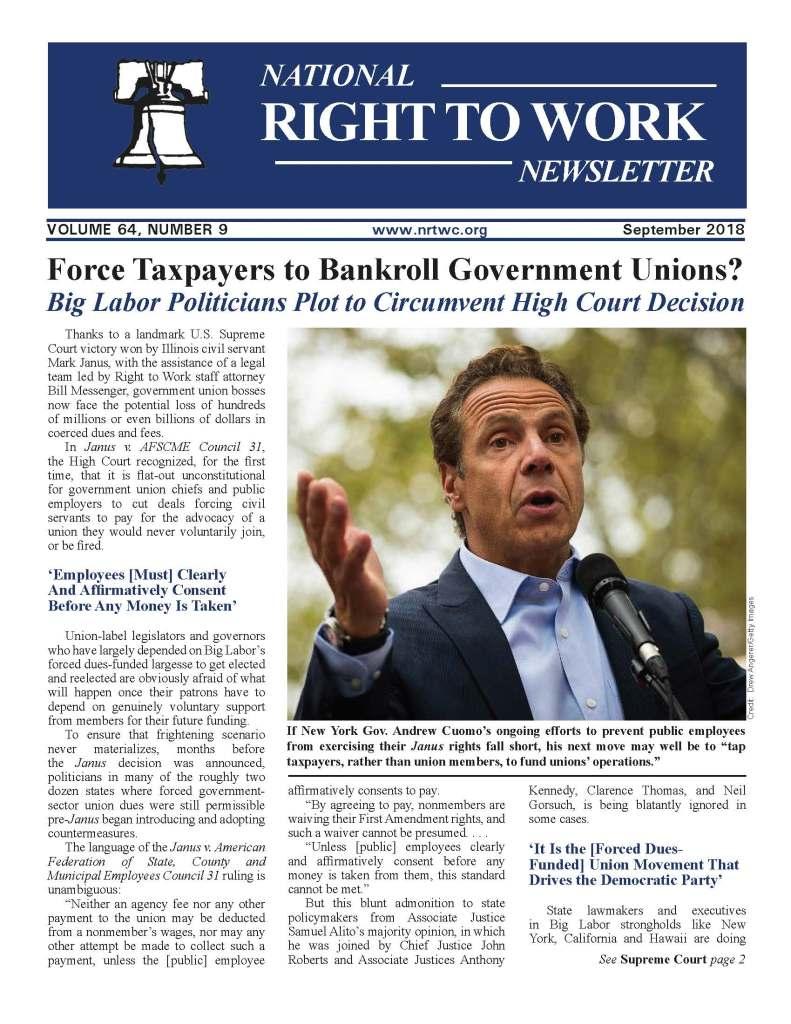 September 2018 National Right to Work Newsletter