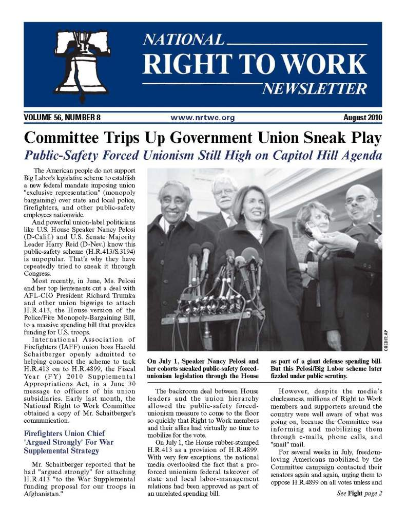 August 2010 National Right to work newsletter