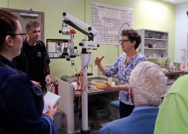 Members of the Nova Scotia Archaeology Society touring the conservation laboratory in the Dartmouth facility in May, 2017. Credit: Vanessa Smith