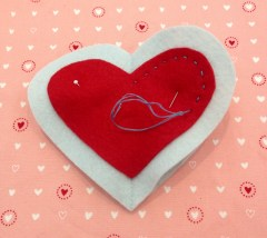 NSB – heartfelt ornament running stitch side one
