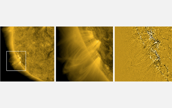Images showing narrow jets of material streaking upward from the Sun's surface at high speeds.