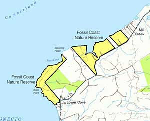 Fossil Cove Nature Reserve. Click on image for full map
