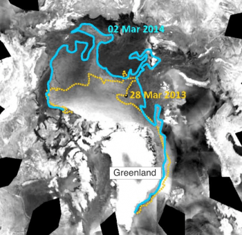 Figure 4. Imagery from the European Advanced Scatterometer (ASCAT) show the distribution of multiyear ice compared to first year ice for March 28, 2013 (yellow line) and March 2, 2014 (blue line).   Credit: Advanced Scatterometer imagery courtesy NOAA NESDIS, analysis courtesy T. Wohlleben, Canadian Ice Service    High-resolution image