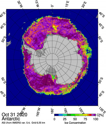 Figure 6. This figure shows the Japanese Aerospace Exploration Agency (JAXA) Advanced Microwave Scanning Radiometer 2 (AMSR2) sea ice concentration for Antarctic sea ice on October 31, 2020. Antarctic sea ice extent reached its seasonal sea ice extent maximum of 18.95 million square kilometers (7.32 million square miles) on September 28, 2020. Sea Ice Index data. About the data||Credit: University of Bremen|High-resolution image