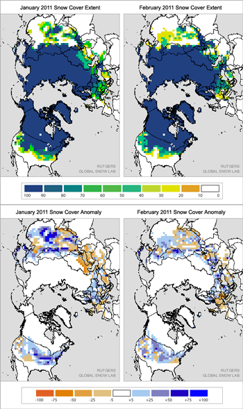 figure 5: snow cover extent and anomaly