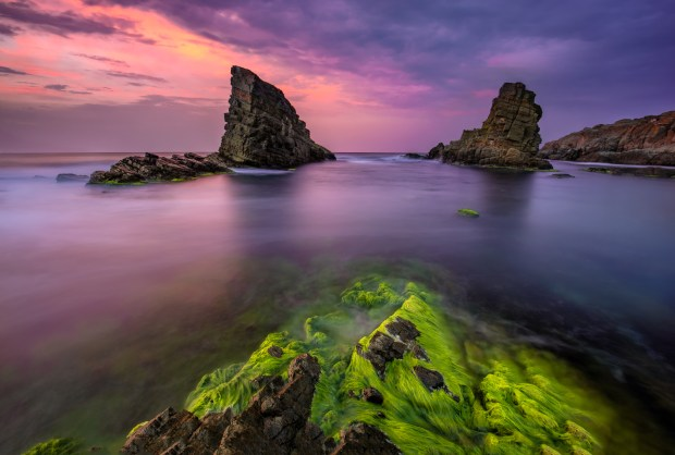 "Sunset over the ""Shipwreck"" Rocks near Sinemoretz, Bulgaria"