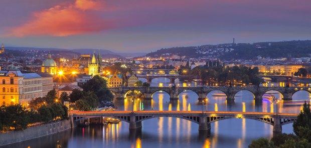 Bridges over Valtava river in Prague, The Czech Republic