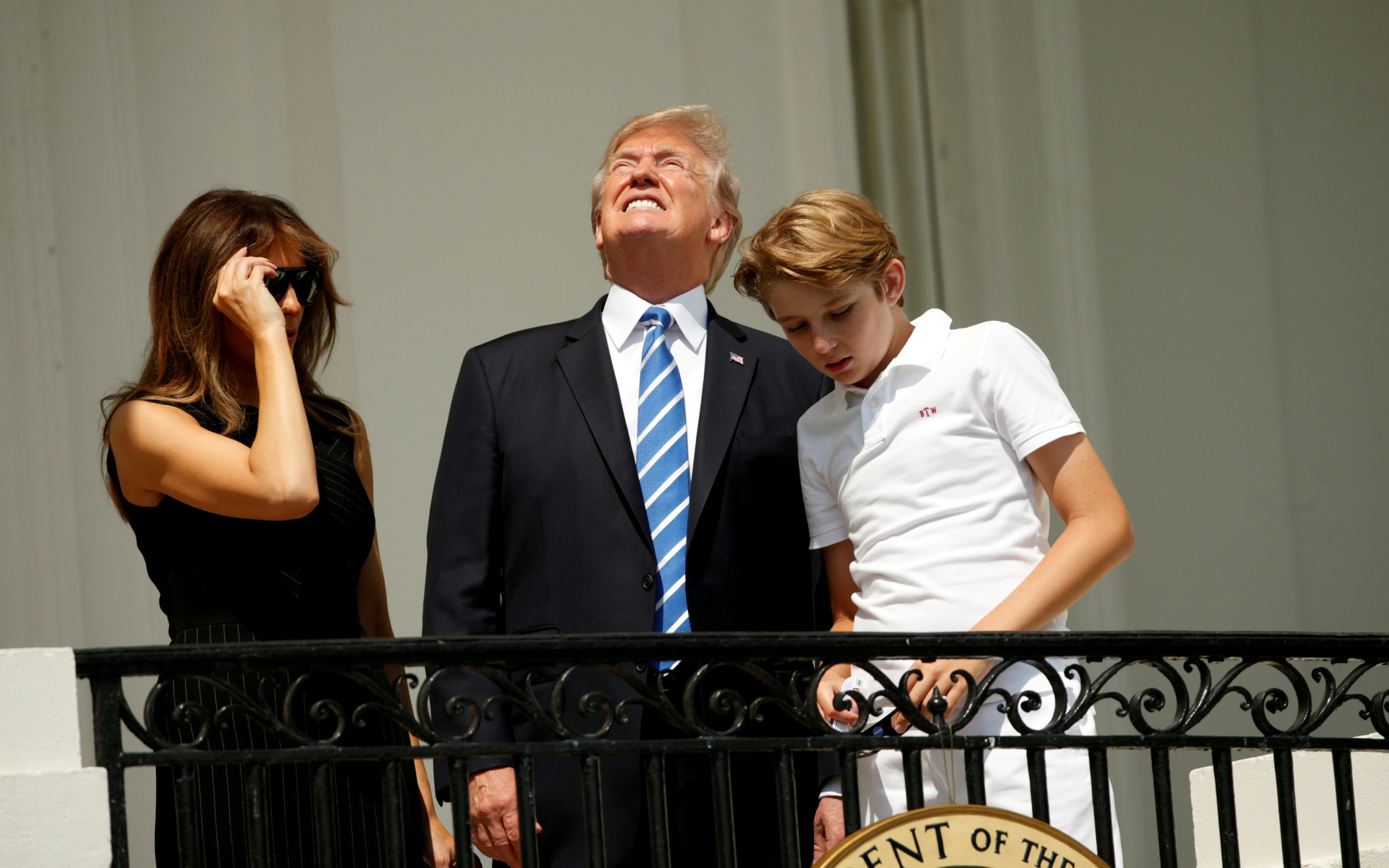 U.S. President Trump and family watch the solar eclipse from the White House in Washington