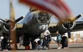The crew of the B-17 Flying Fortress unloads after landing at Raleigh-Durham International Airport during the Wings of Freedom Tour, October 19, 2017. Hosted by the Collings Foundation, Wings of Freedom visits more than 100 cities a year to show off working pieces of American war history as well as to educate people about the veterans of WWII. The tour will be in Burlington, NC until 12 pm on Oct. 25 and then move to Statesville, NC through Oct. 27. (Eamon Queeney / North State Journal)