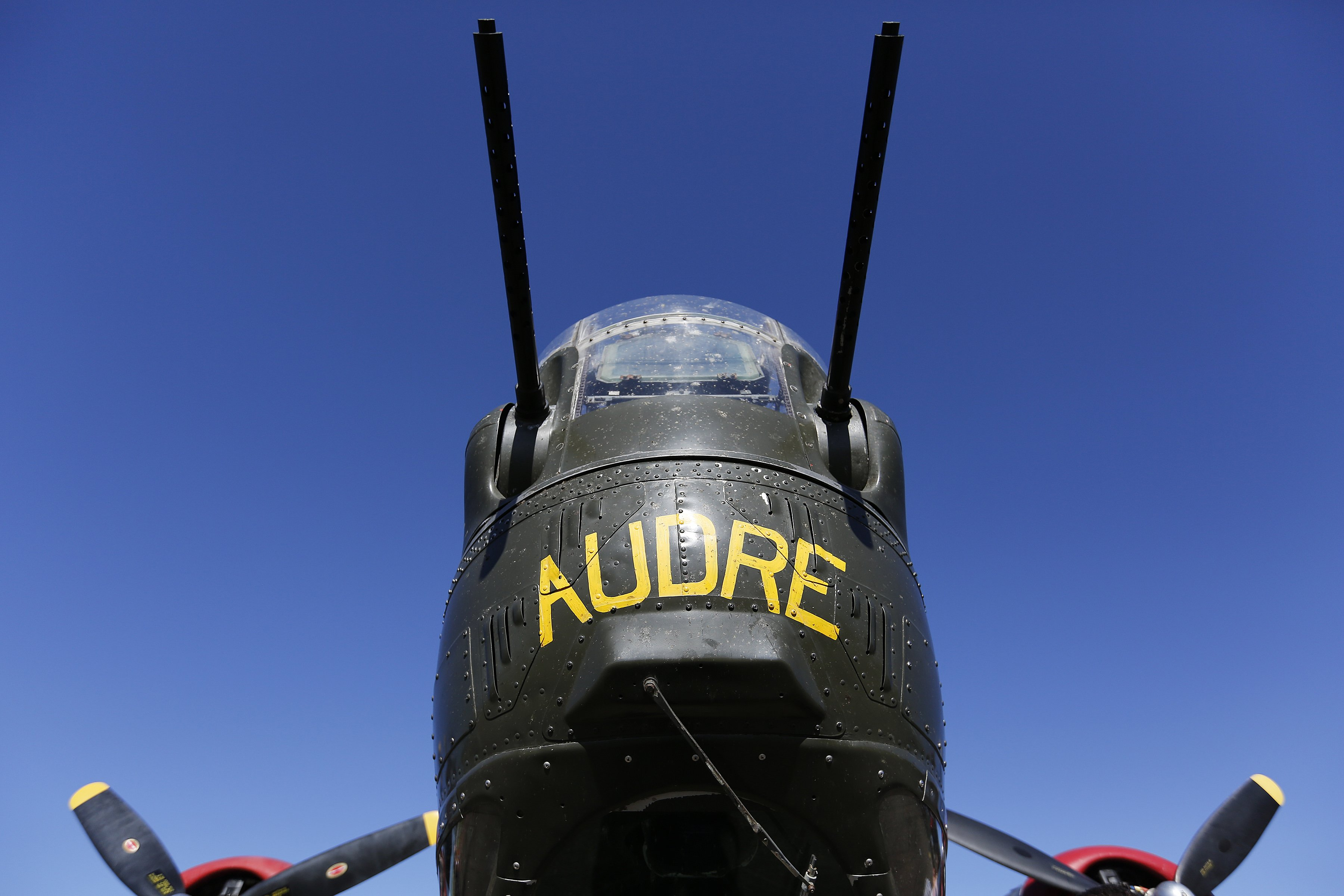 A detail look at the nose of the world's only flying B-24J Liberator during the Wings of Freedom Tour at Raleigh-Durham International Airport, October 19, 2017. Hosted by the Collings Foundation, Wings of Freedom visits more than 100 cities a year to show off working pieces of American war history as well as to educate people about the veterans of WWII. The tour will be in Burlington, NC until 12 pm on Oct. 25 and then move to Statesville, NC through Oct. 27. (Eamon Queeney / North State Journal)