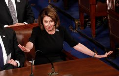 House Minority Leader Nancy Pelosi reacts to U.S. President Donald Trump's State of the Union address to a joint session of the U.S. Congress on Capitol Hill in Washington, U.S. January 30, 2018. REUTERS/Jonathan Ernst TPX IMAGES OF THE DAY