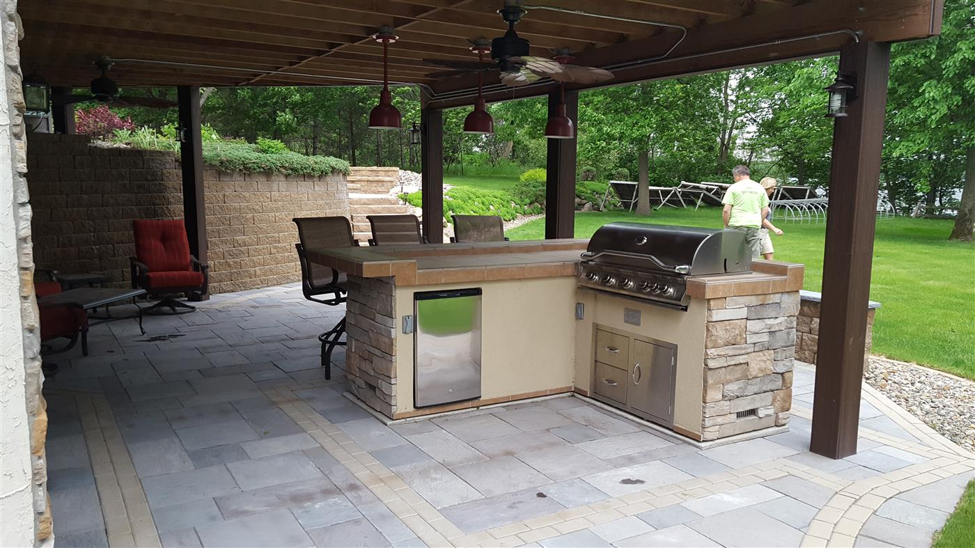 Cannon Lake Firepit Patio & Outdoor Kitchen - NS Landscapes on Outdoor Kitchen Patio id=93871