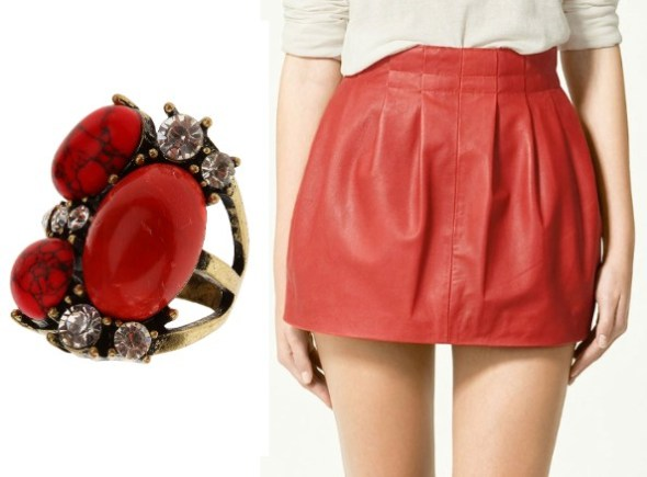 topshop ring stones precious skirt zara leather