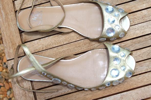 Jeffrey campbell gold strass sandals