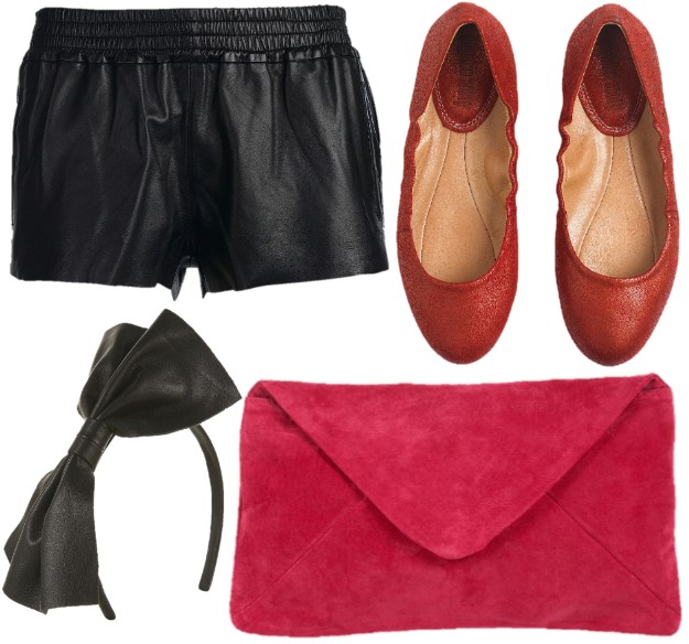 asos topshop cuir leather ballerinas red coral corail short maje