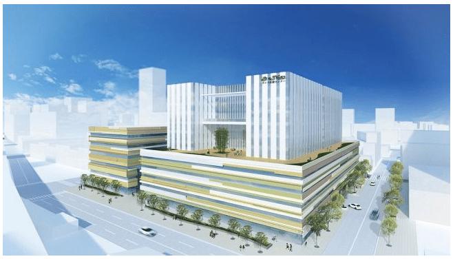 新病院、総工費200億円、病床320床全室個室、10階建て病院ホテル棟+5階建てオフィス棟