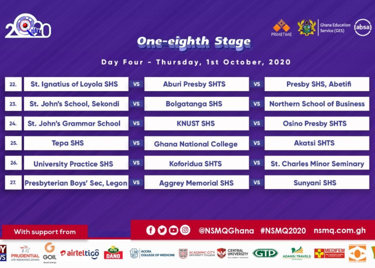 2020 NMSQ: Fixtures for NSMQ One-eighth Stage 6