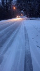 Drivers still brave the dangerously icy roads at night out of necessity to get home. Spalding drive has compacted