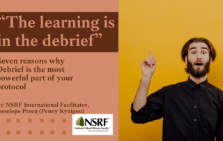 "Bearded man in turtleneck sweater pointing to sky with ""aha"" look on his face. Headline: ""The learning is in the debrief: 7 Reasons why Debrief is the most important part of your protocol"""