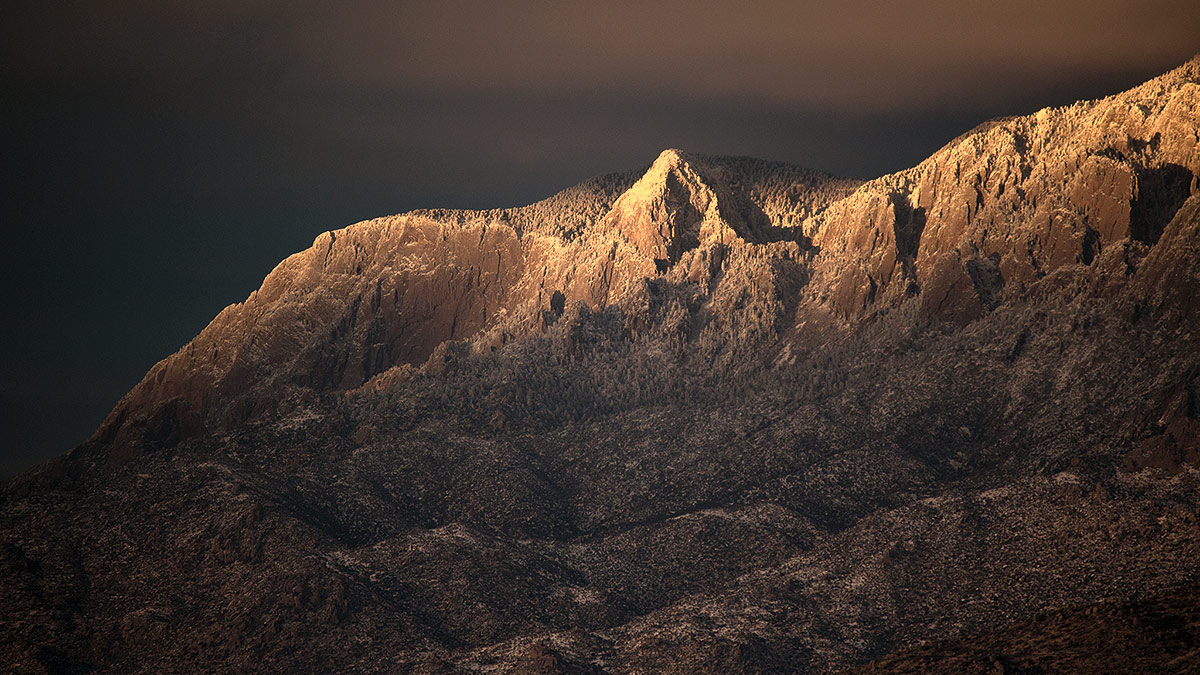 winter view of the north peak of the Sandias
