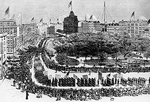 Labor Day parade in Union Square, New York City, 1882