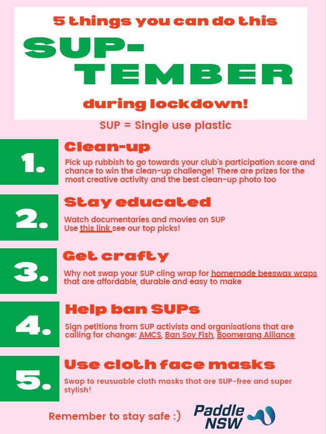 Poster listing five things to do in SUPtember